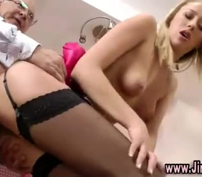 Stockinged blonde takes cock